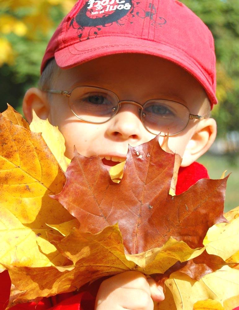 Bambino con in mano delle foglie